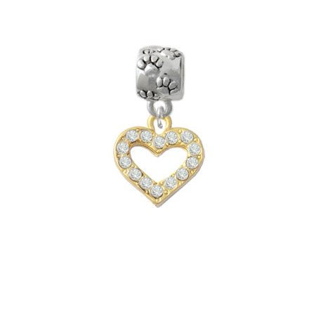 Goldtone Crystal Open Heart - Paw Print Charm - Crystal Open Heart Charm