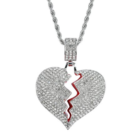 Shiny Luxury Rhinestone Necklace with Broken Heart Pendant Stainless Steel and Rope Chain Necklace for Couple
