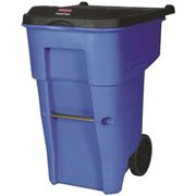 Brute Rollout Trash Can With Lid, Blue, 95 Gallons