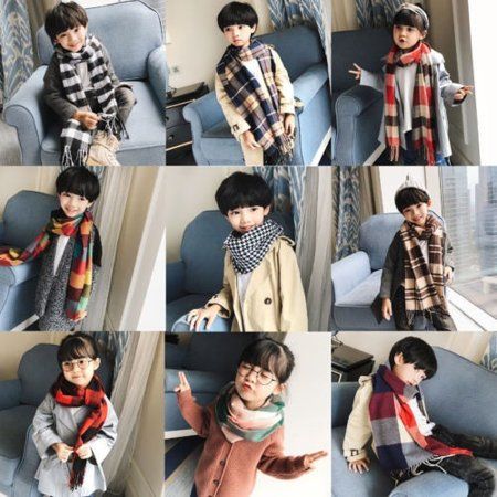 Kid Baby Children Warm Long Plaid Cashmere Wool Scarf Tassel Check Muffler Shawl Gift ()