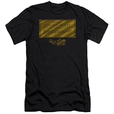 Willy Wonka And The Chocolate Factory Golden Ticket Mens Slim Fit Shirt (Black, Large) (Mens Black Golden Retriever)