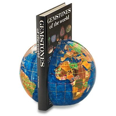 Kalifano Caribbean Blue 6-in. Gemstone Globe Bookends