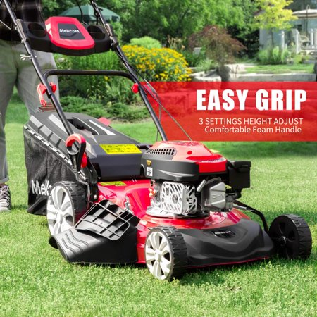 MELLCOM Gas Lawn Mower 4-Cycle 173cc OHV 21-Inch Trimming Mower 4-in-1 Rear Wheel Drive Trimmer with 16 Gal Grass Box,8 Adjustable Mower Heights, Adjustable & Foldable Handlebars