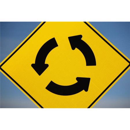 A Yellow Sign Showing Three Arrows Going In A Circle - Calgary, Alberta, Canada Poster Print, 19 x 12