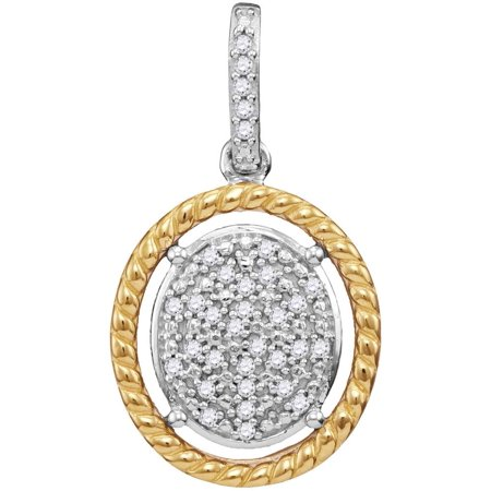 - 10kt Two-tone Gold Womens Diamond Oval Cluster Yellow-tone Rope Frame Pendant 1/12 Cttw
