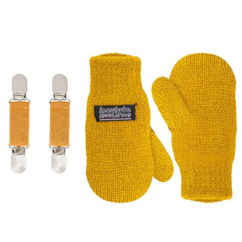 SANREMO Unisex Kids Toddler Knitted Fleece Lined Warm Winter Mittens and Mitten Clips Set (1-3 Years, Mustard)