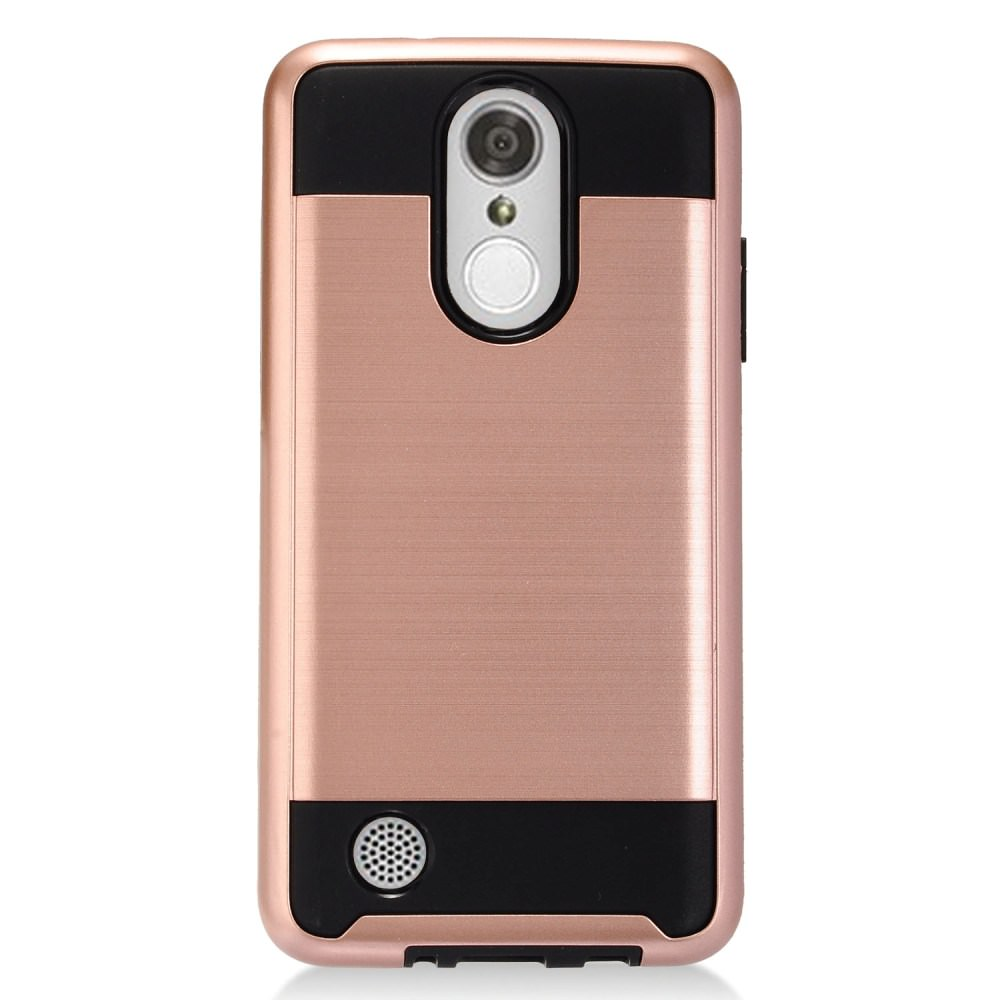 For LG Xpression Plus (2018) Case Dual Layer Brushed Metal Texture Armor Hybrid TPU Phone Cover MetoGuard (Rose