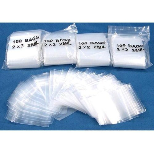 "500 Zipper Poly Bag Resealable Plastic Shipping Bags 2""x 2"""