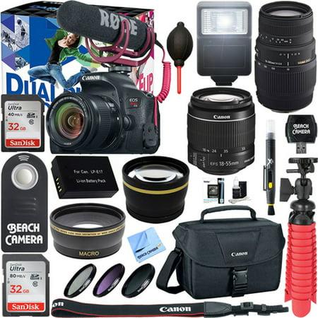 Canon EOS Rebel T7i Digital SLR Camera Video Creator Kit + EF-S 18-55mm IS STM & 70-300mm Dual Lens Accessory Bundle