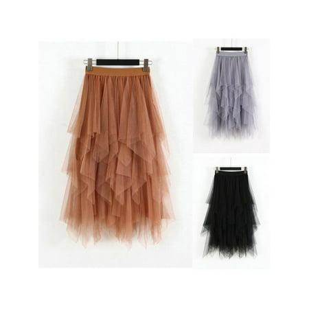Lace Mesh Skirt - MarinaVida Women Lace Tulle Skirt Elastic Waist Mesh Net Skirt Long Paragraph Skirt Fashion Skirt