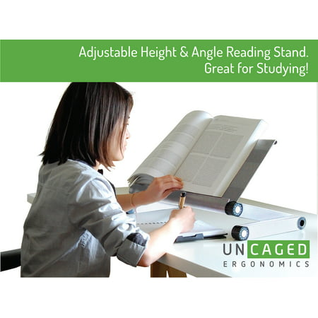 Adjustable Height and Angle Ergonomic Book Holder reading textbook stand for big heavy books studying in bed couch sitting standing at a desk tablet document laptop durable lightweight aluminum,Silver