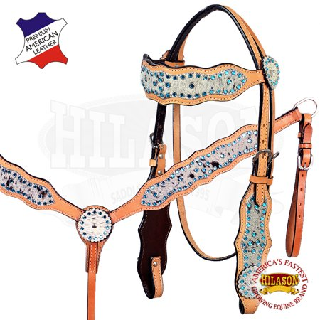 Working Cow Horse Saddle (Hilason Cowhide American Leather Horse Headstall Breast Collar)