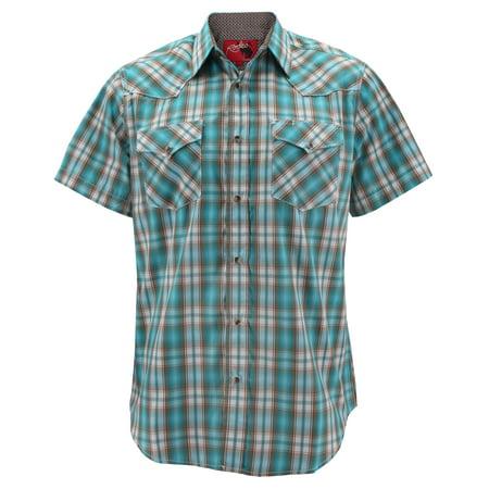 Rodeo Clothing Men's Western Cowboy Pearl Snap Button Short Sleeve Plaid Shirt (#446, L)