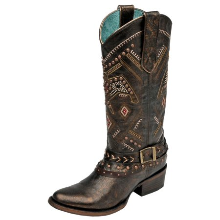 - Corral Western Boots Womens Studded Harness Distressed Bronze C2932