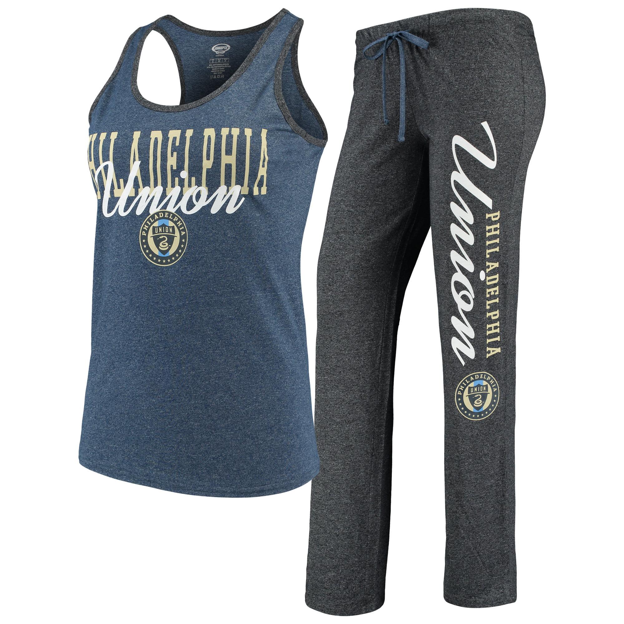 Philadelphia Union Concepts Sport Women's Spar Tank Top & Pants Sleep Set - Heathered Navy/Heathered Charcoal