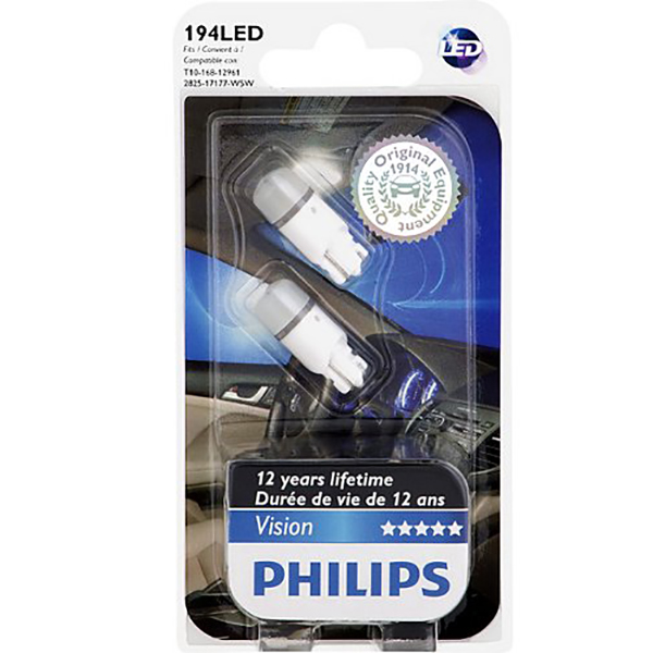 Philips  194 LED - 6000K Bright White Interior Vision LED Automotive - 2 Bulbs