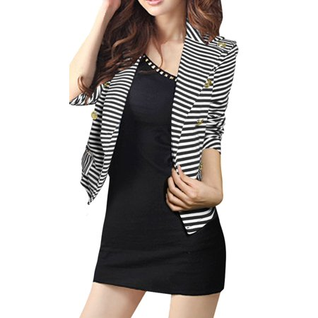 - Woman Striped Peaked Collar Double Breasted Blazer Coat