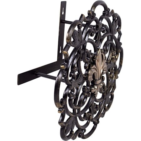 Image of BirdRock Home Wall Mounted Hose Reel – Black Cast Aluminum Holder for Garden – Outdoor Decorative Organizer – Fleur-de-lis and Scroll Design
