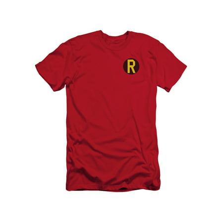 Batman DC Comics Superhero Robin Costume R Logo Adult Slim T-Shirt Tee (Adult Batman Shirt)