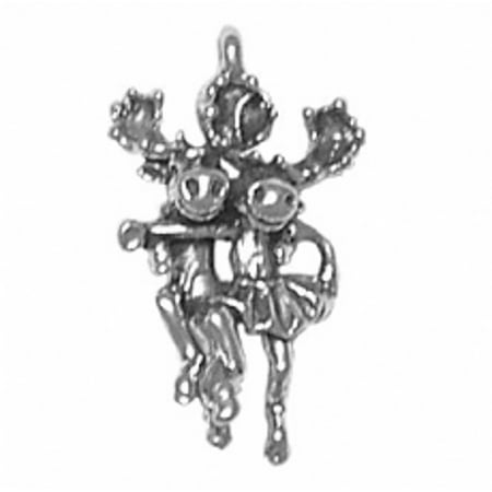 "Sterling Silver 16"" .8mm Box Chain Moose Couple Partners Dancing Pendant Necklace"
