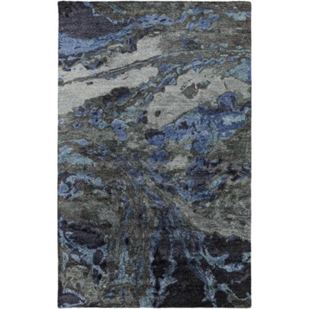 3 25 X 5 25 Whistling Winds Charcoal Gray And Ocean Boat Blue Hand Tufted Area Throw Rug