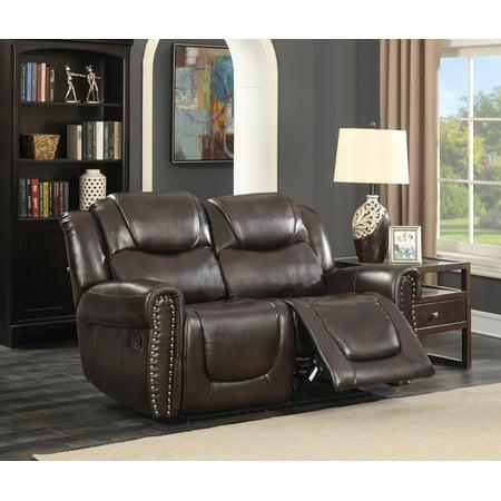 Savannah Dark Brown Bonded Leather Living Room Reclining Loveseat