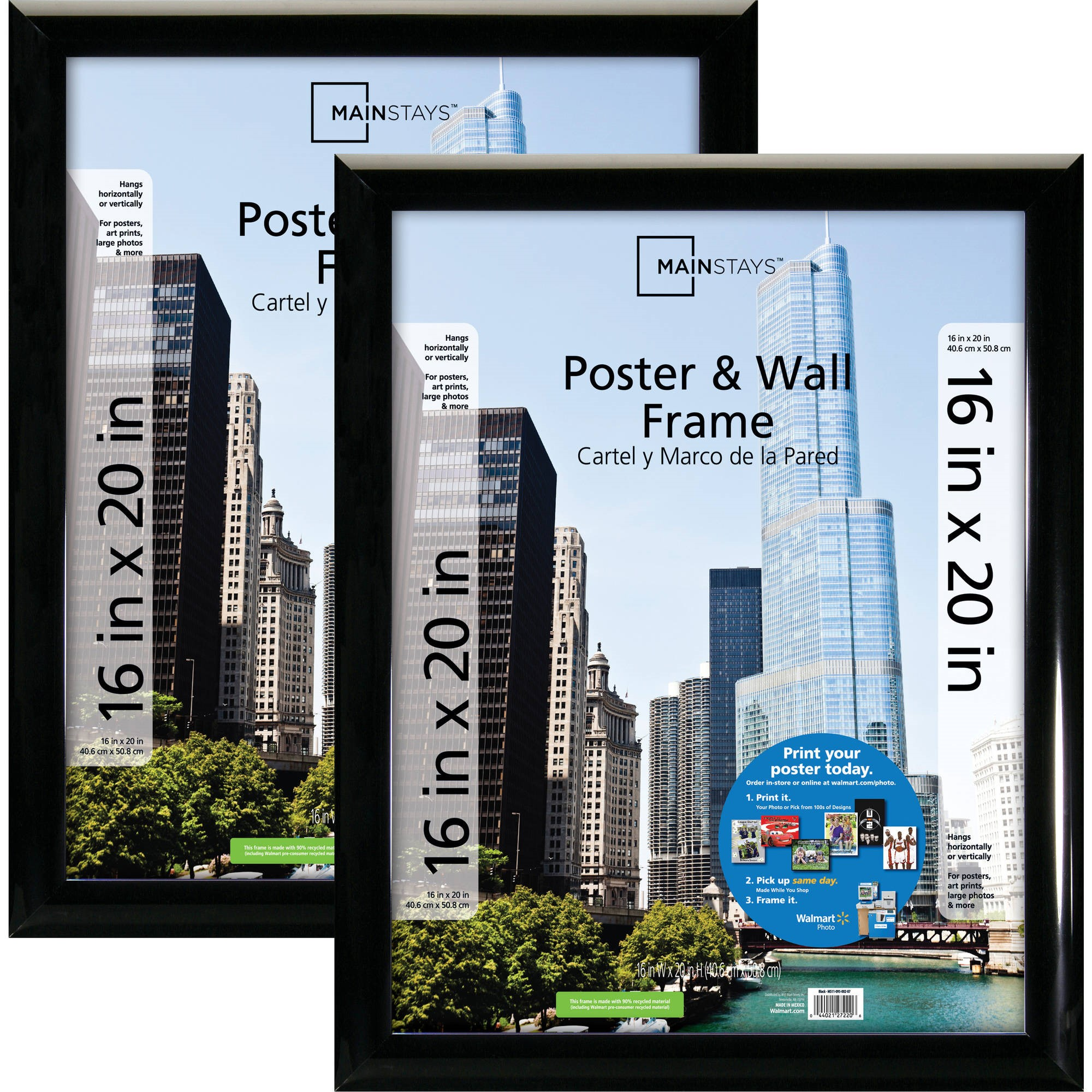 2 Pack 16x20 Poster Picture Frame Trendsetter Black For Room Wall Office Decor