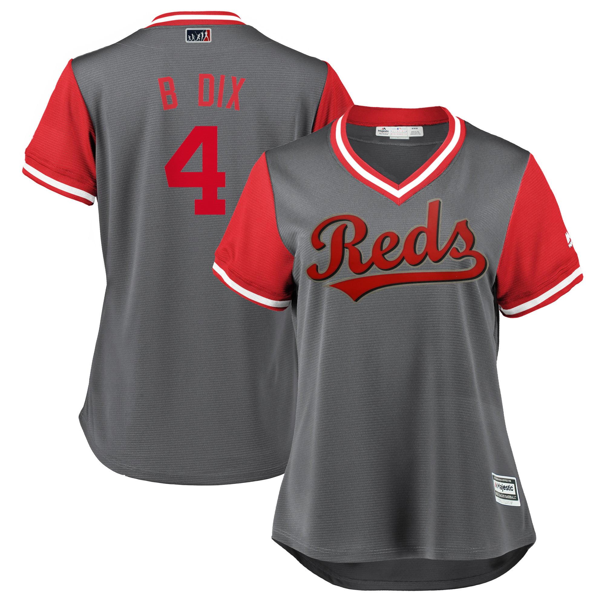 "Brandon Dixon ""B Dix"" Cincinnati Reds Majestic Women's 2018 Players' Weekend Cool Base Jersey - Gray/Red"