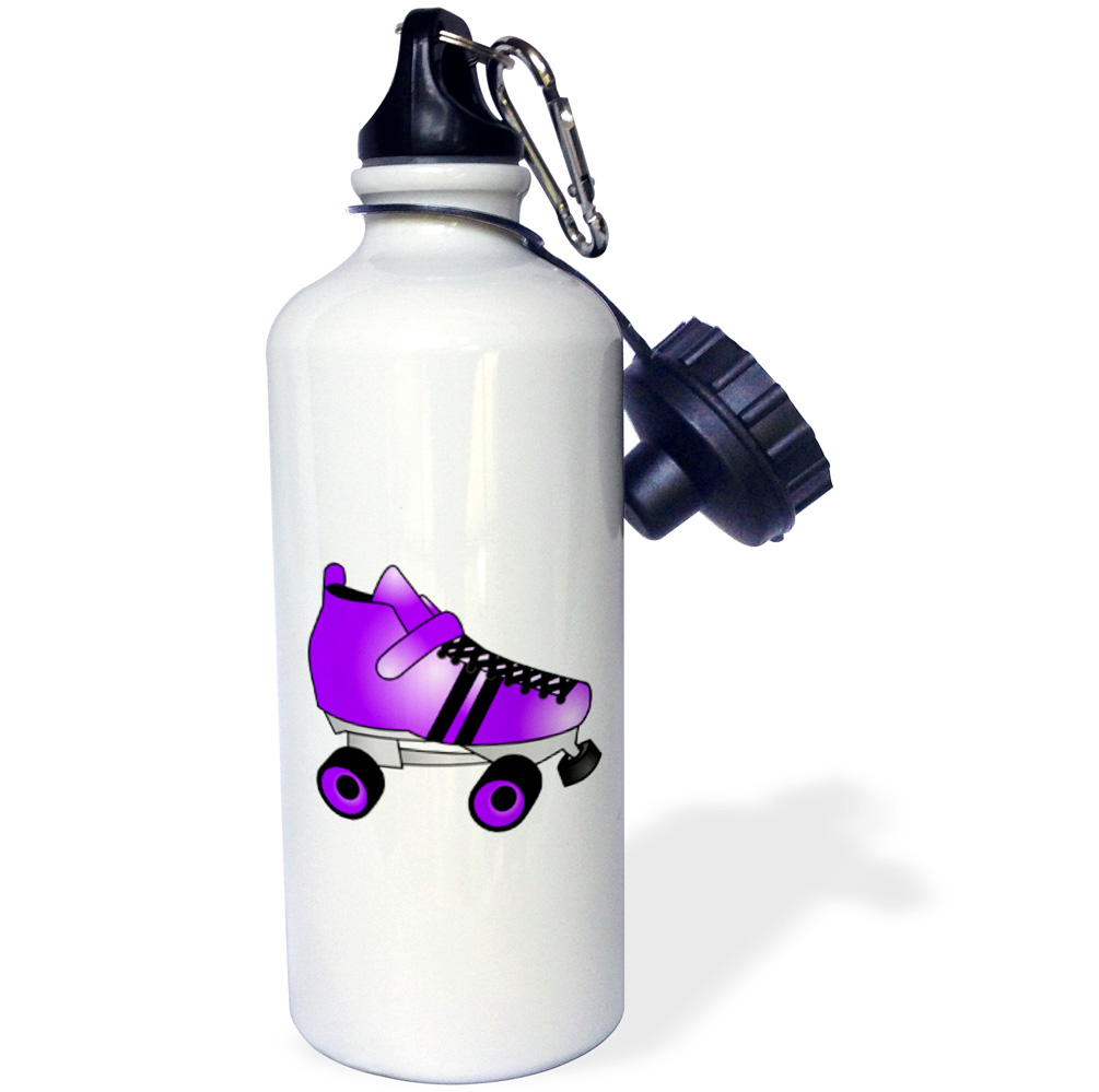 3dRose Skating Gifts Purple and Black Roller Skate, Sports Water Bottle, 21oz by 3dRose