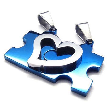 Thzy Jewelry 1 Pair Friendship Chains Heart Puzzle Love Stainless Steel Partner Pendant With 45Cm And 55Cm Necklace  Ladies  Gents Necklace  Blue Silver