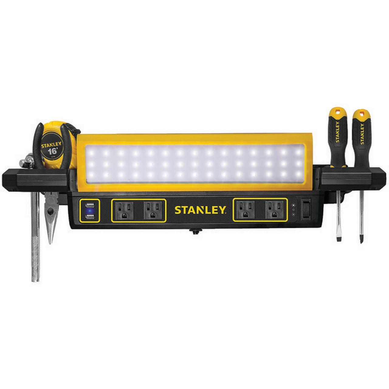 STANLEY(R) PSL1000S 1,000-Lumen Workbench Shop Light with Power Strip