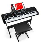 Best Choice Products 61-Key Piano Keyboard Set w/ LED Keys, Microphone, Stand, Stool