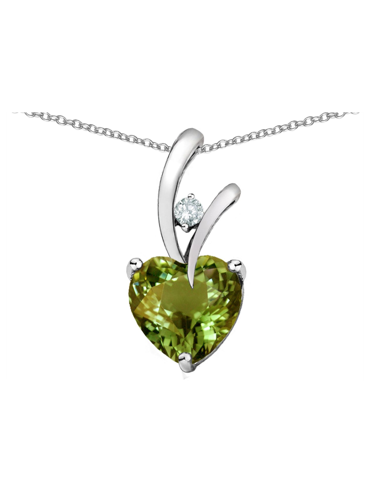 Star K Heart Shape 8mm Simulated Green Tourmaline Endless Love Pendant Necklace in Sterling Silver by Star K