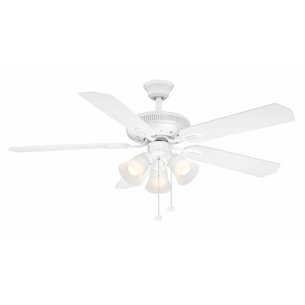 Hampton Bay Glendale 52 In Led Indoor White Ceiling Fan With Light Kit Walmart Com Walmart Com