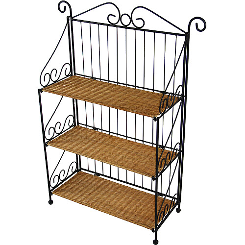 3-Tier Shelf, Wicker/Steel