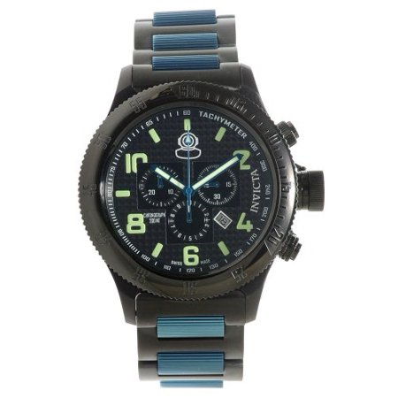 Russian Diver Quartz Textured Dial Two-tone Black Blue SS Mens Watch (Mens Textured Dial)