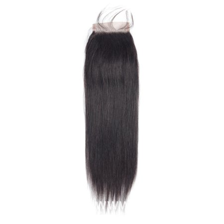 Allrun Brazilian Straight Hair Lace Closure 4*4 Brazilian Virgin Hair Closure Brazilian Straight Virgin Hair Lace Closure, 18