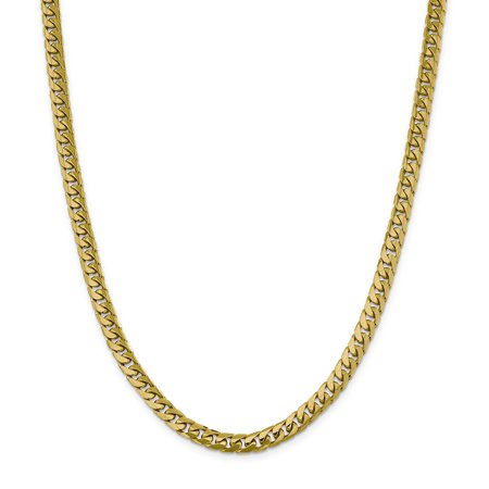 - 14k Yellow Gold 6.25mm Solid Miami Cuban Chain Necklace 20 Inch Pendant Charm Curb Domed For Women