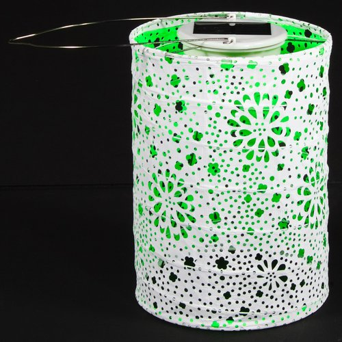 "Allsop 31024 - 6"" x 8"" Neon Green Cylinder Dual LED Tyvek Solar Powered LED Lantern"