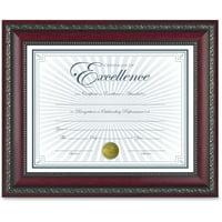 DAX World Class Document Frame w/Certificate, Rosewood, 8 1/2 x 11