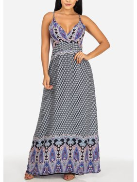 0f9a5edd80d Product Image Womens Juniors Lightweight Purple Printed Spaghetti Strap  V-Neckline Maxi Dress 40287I