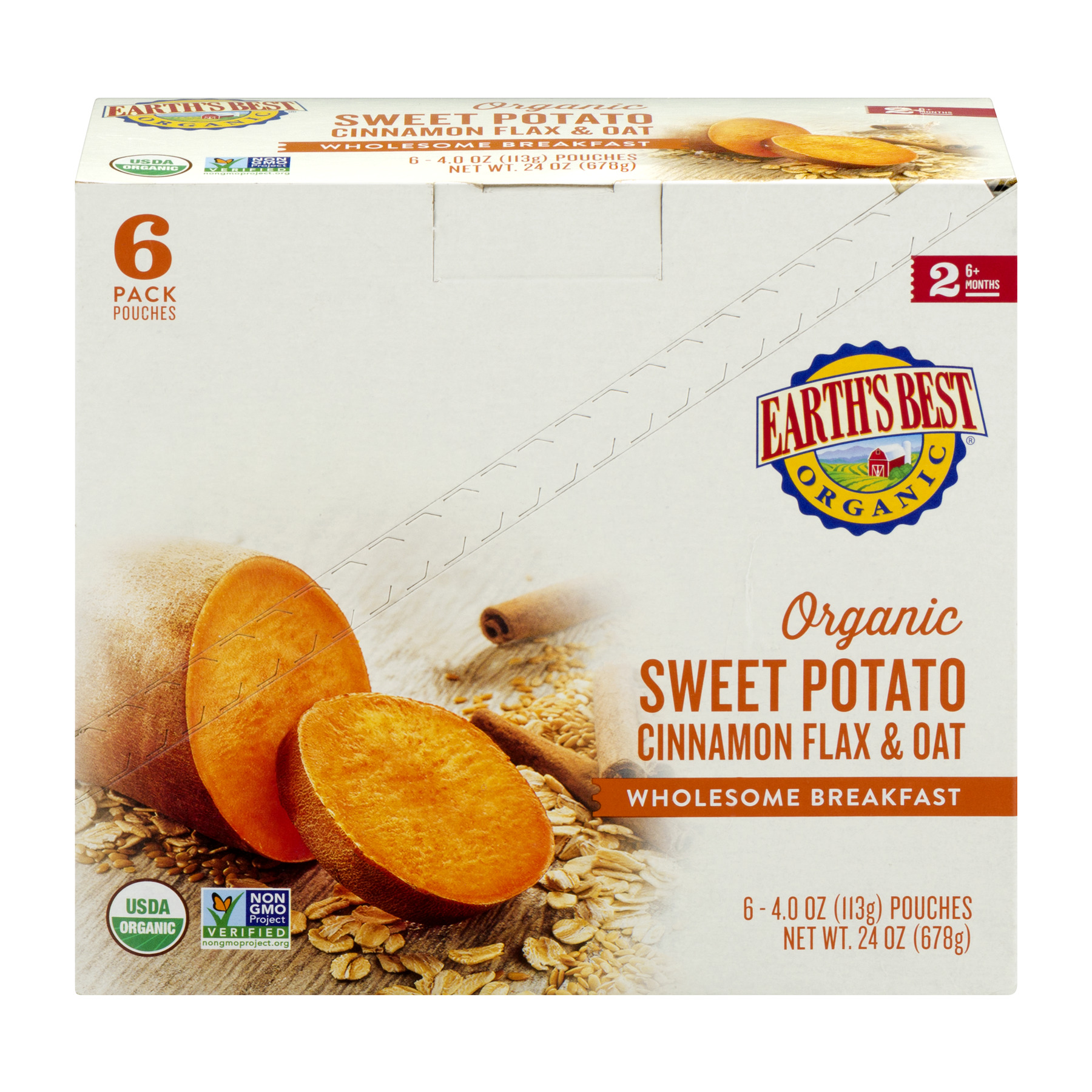 Earth's Best Organic Stage 2, Sweet Potato Cinnamon Flax & Oat, 4 Ounce Pouch (Pack of 6)