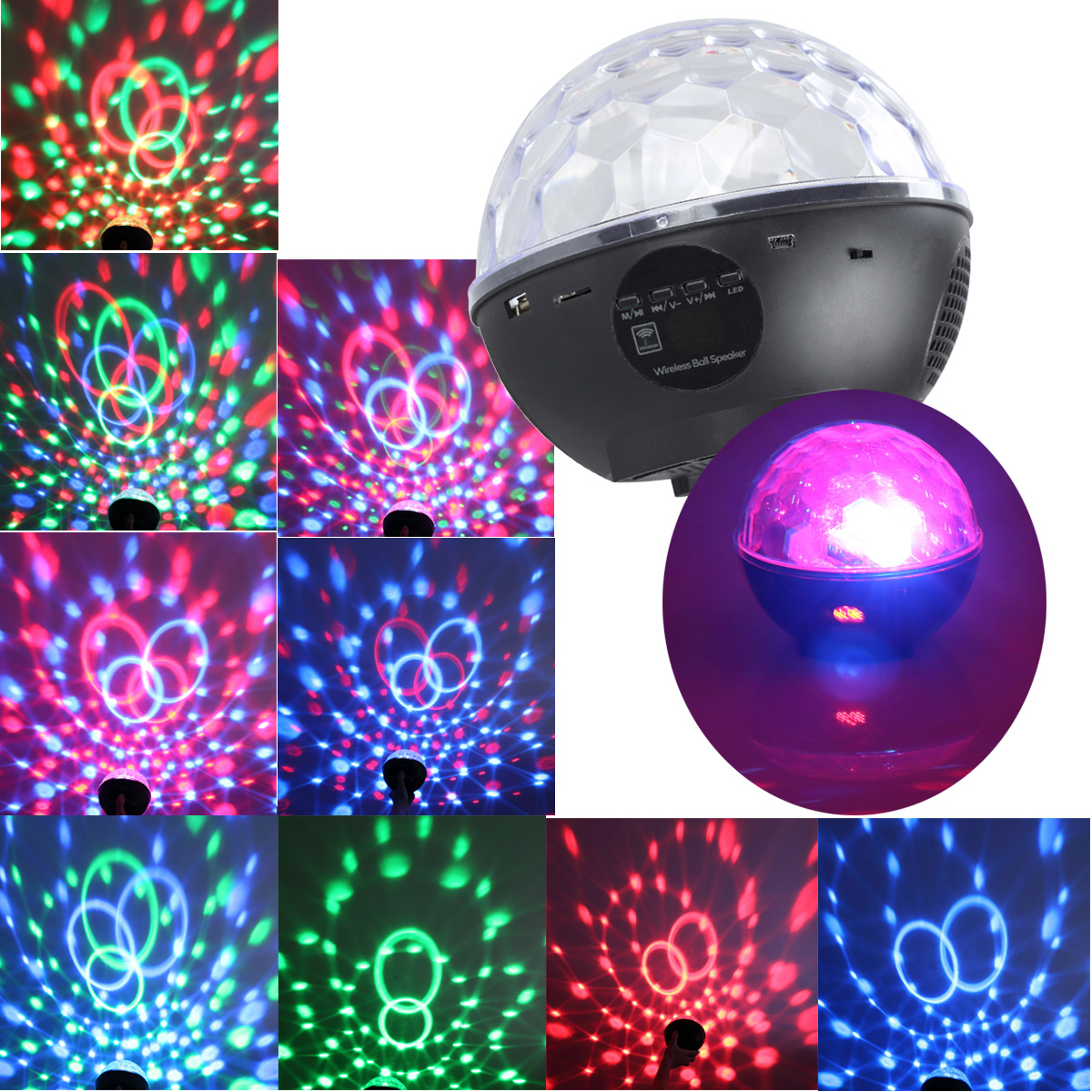 CoastaCloud MP3 Crystal Magic Ball 3 color Rotating Strobe Disco Stage Christmas LED RGB Ball Light with Remote Control... by CoastaCloud