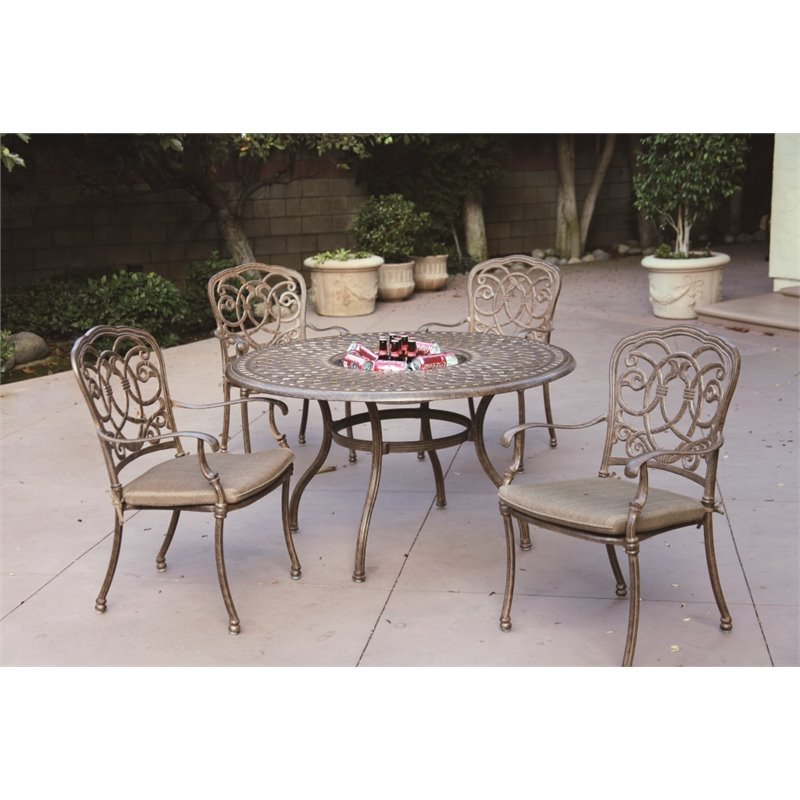 "Darlee Florence 5 Piece 52"" Round Patio Dining Set with Seat Cushion"