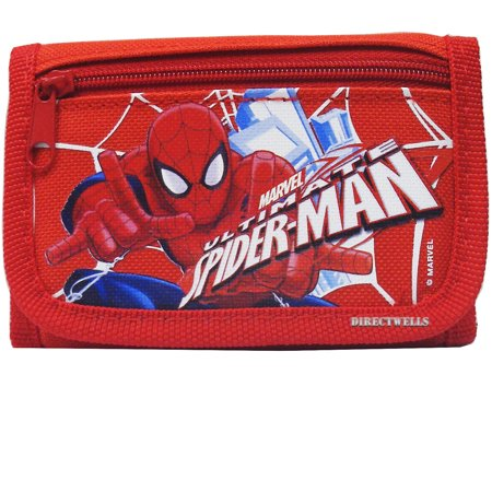 Spiderman Action Authentic Licensed Red Trifold Wallet Authentic Designer Wallets