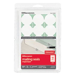Office Depot Permanent Mailing Seals, 1in. Diameter, Clear, Pack Of 480, OD98795 Round Office Seals