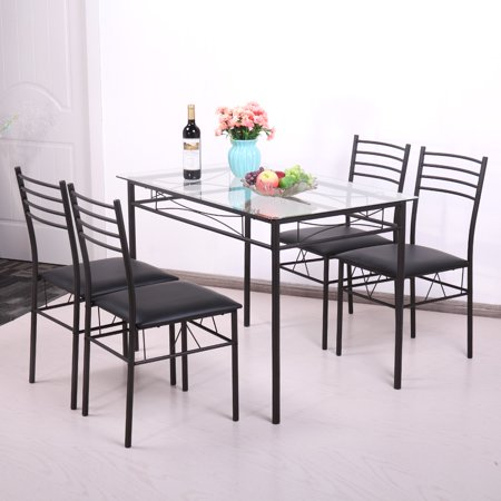 Jaxpety 5 Piece Dinning Set Glass Top Table and 4 Upholstered Chairs Kitchen Breakfast Furniture Black
