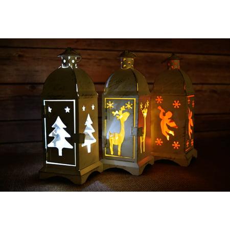 Quasimoon Set of 3 Christmas Holiday Hurricane Candle Lanterns, Rustic White by - Rustic Lantern