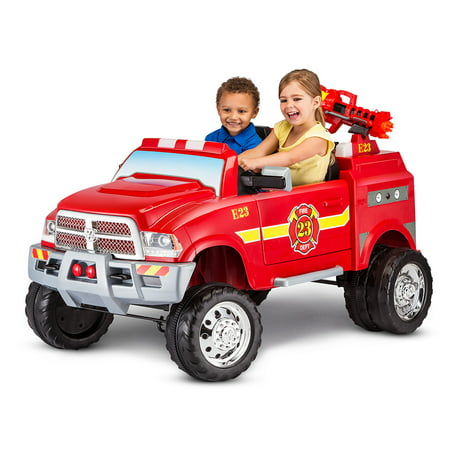 12-Volt RAM 3500 Fire Truck Ride-On Toy Car by Kid Trax, - Toddler Ride On Firetruck