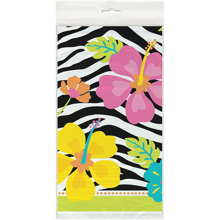 Plastic Wild Luau Table Cover, 84